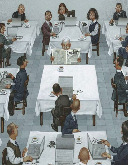 illustrations showing something wrong with world