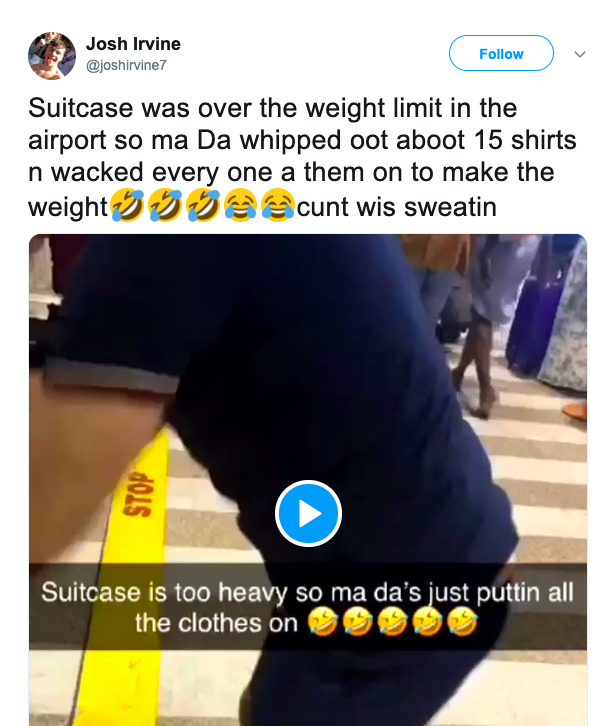 man wears 15 Shirts to save baggage fine